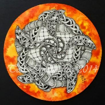 Sakura Micron pen and watercolor paint on Zentangle tile