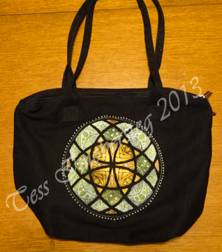 Lumiere paint and Identipen on Cotton Handbag